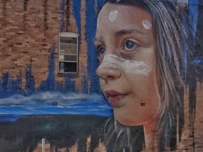 Street art of a girl
