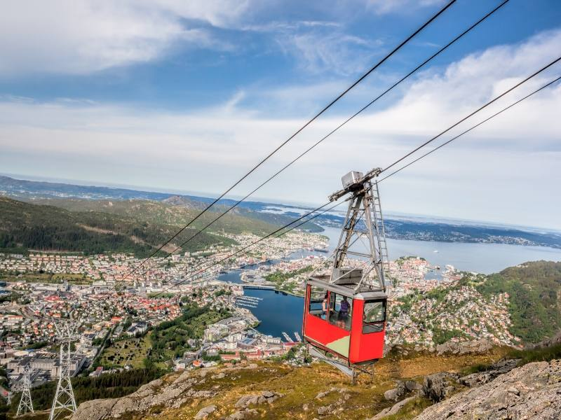 A cable car with a view over Bergen