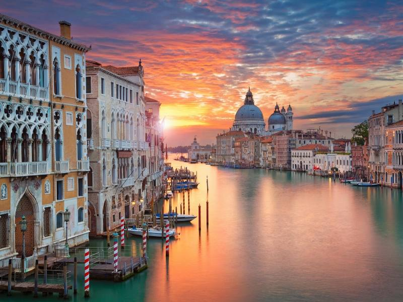 The Grand Canal in Venice at sunrise one of the most beautiful cities in Europe