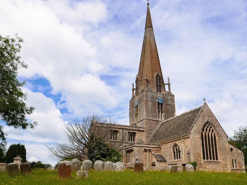 The Church at the village of Bampton in Oxfordshire as see on Downton Abbey