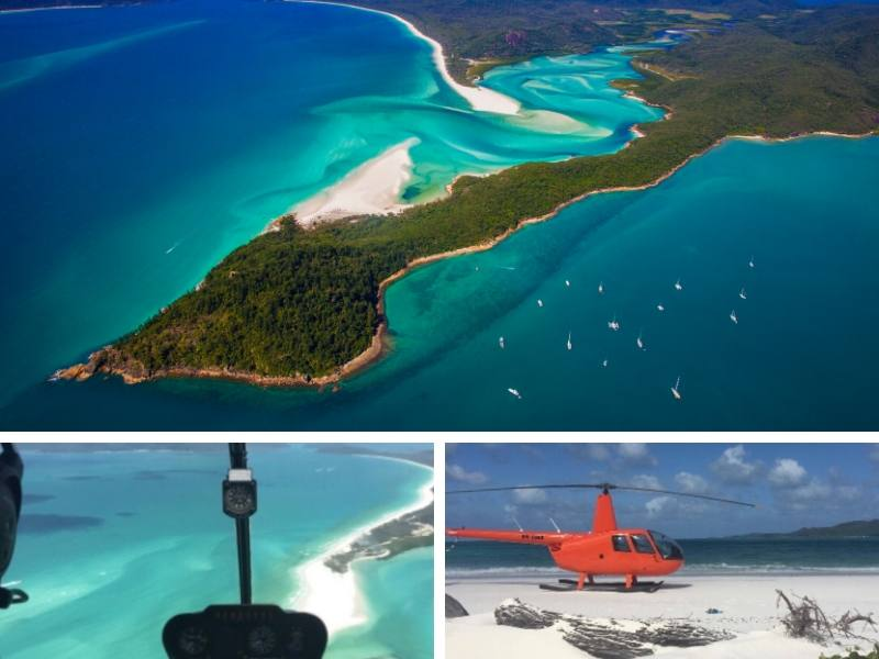 Image showing the Whitsundays and a helicopter