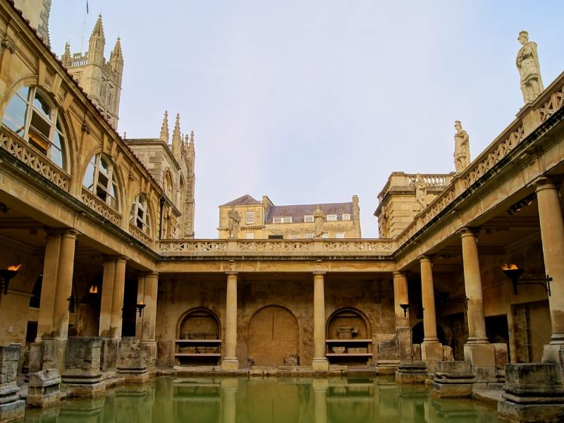 Roman Baths in Bath are one of places o visit with day trips from London by train