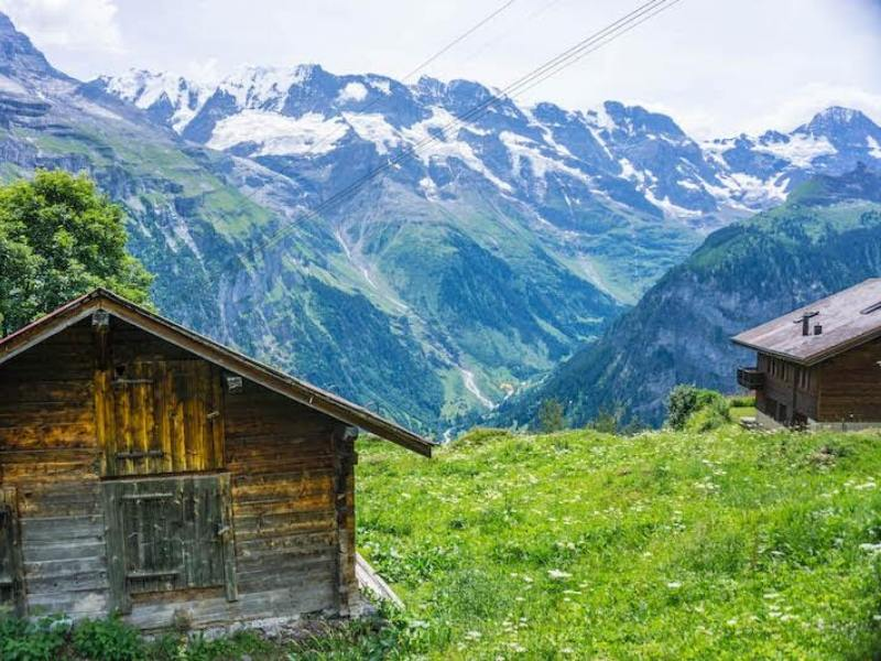 View of Swiss mountains and chalets