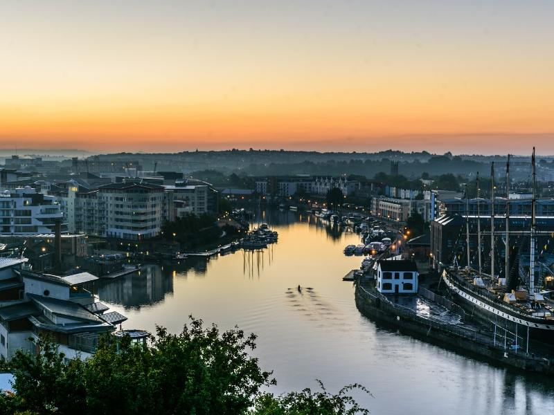 Bristol harbourside at sunrise