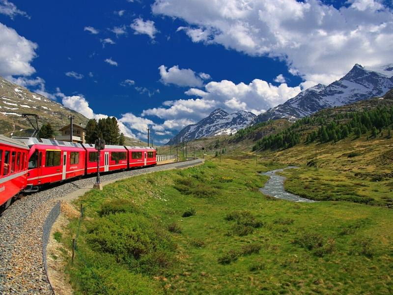 View of the Glacier Express train in Switzerland