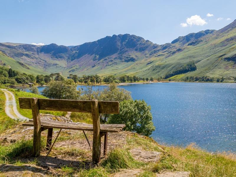 Lake District view from of a wooden bench of Buttermere