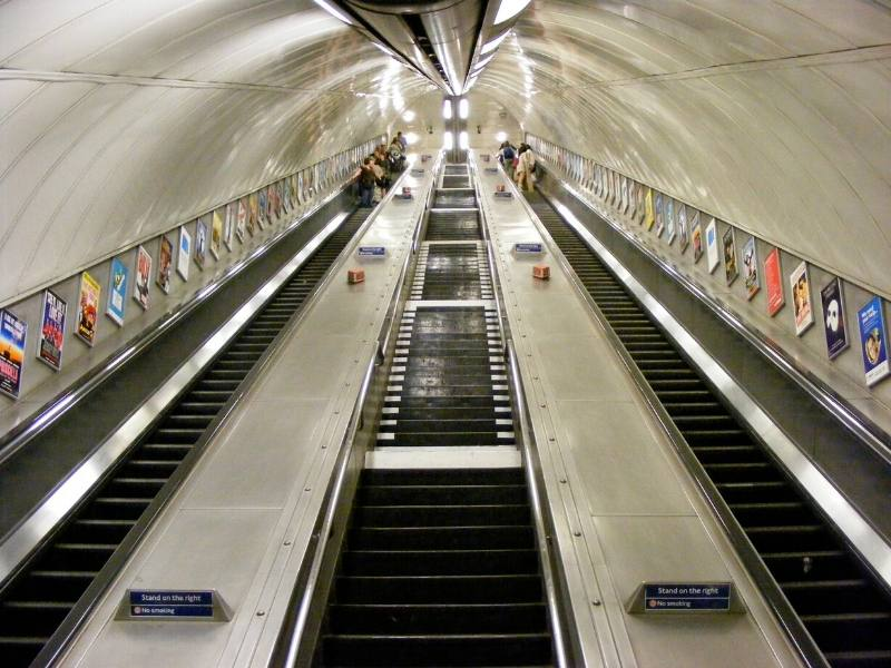 London escalators on the underground