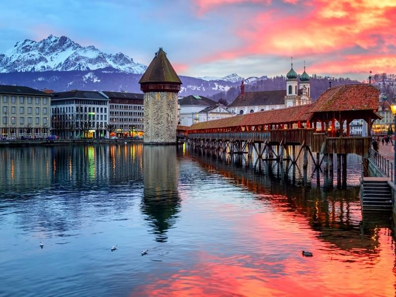 A view of the Keppel bridge in Lucerne one of the most picturesque and best cities to visit in Switzerland