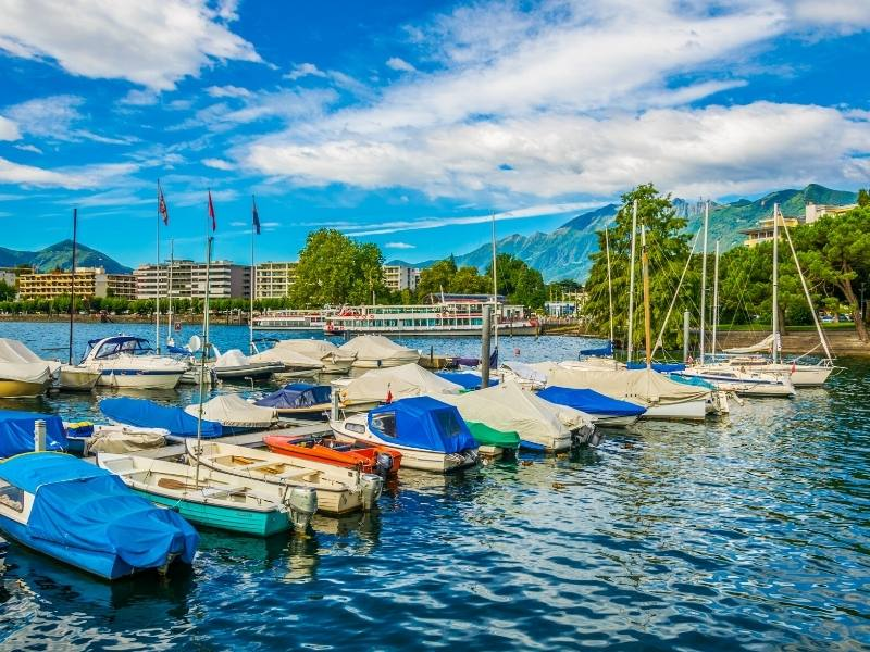 A view of boats on Lake Maggiore