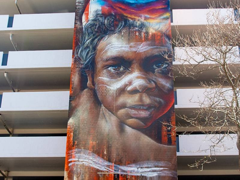 Mural of a young Indigenous boy in Newcastle