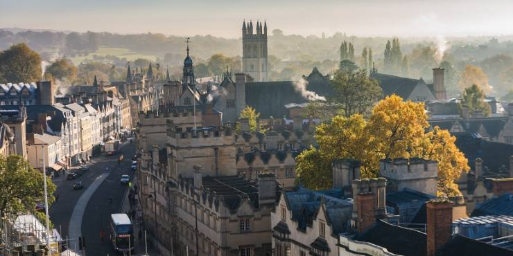 View over the English city of Oxford