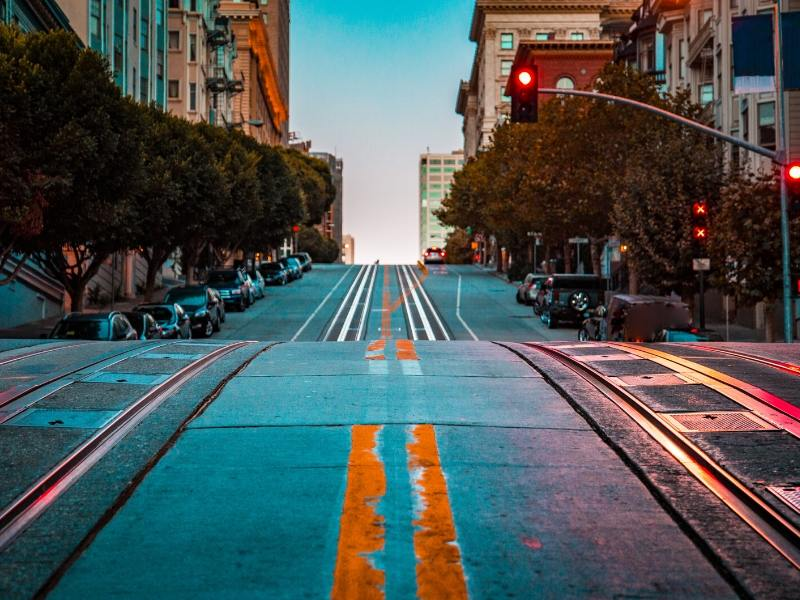 A view of the tram tracks in San Francisco