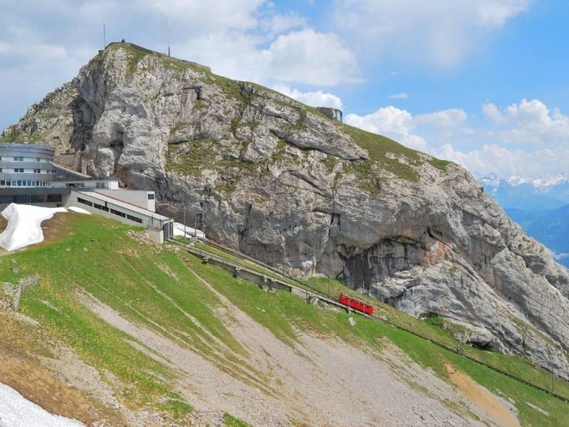 The cog railway climbs Mt Pilatus