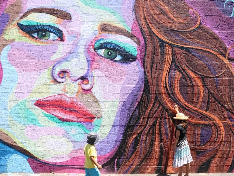 Street art of a woman's face