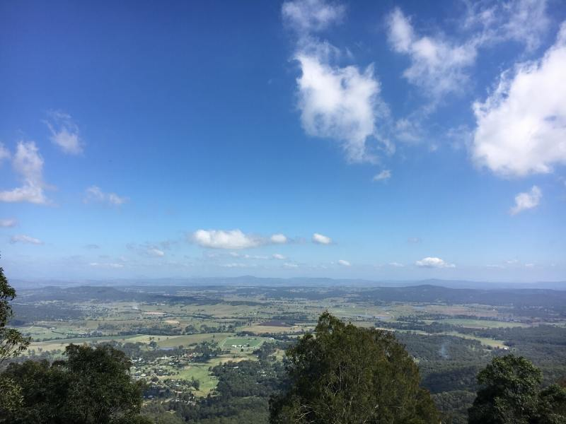 View from Tamborine Mountain in Queensland over surrounding countryside