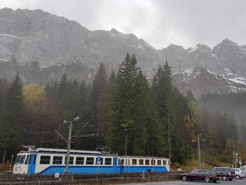 View of the train to the Zugspitze in Germany