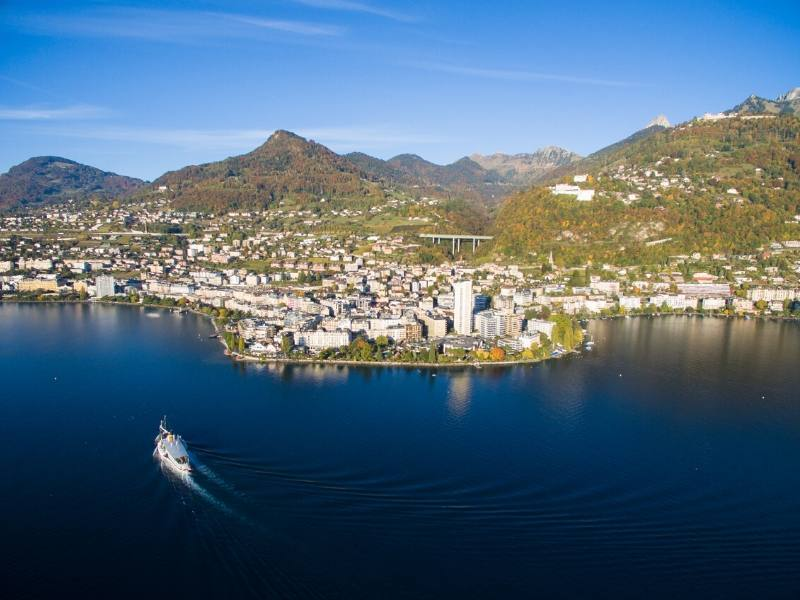 The town of Montreux on Lake Geneva in Switzerland