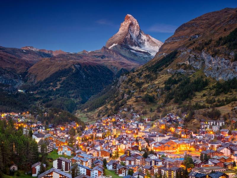 The town of Zermatt in Switzerland