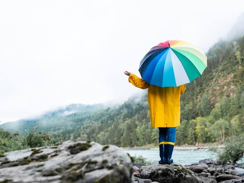 Person standing in the rain with a multicoloured umbrella