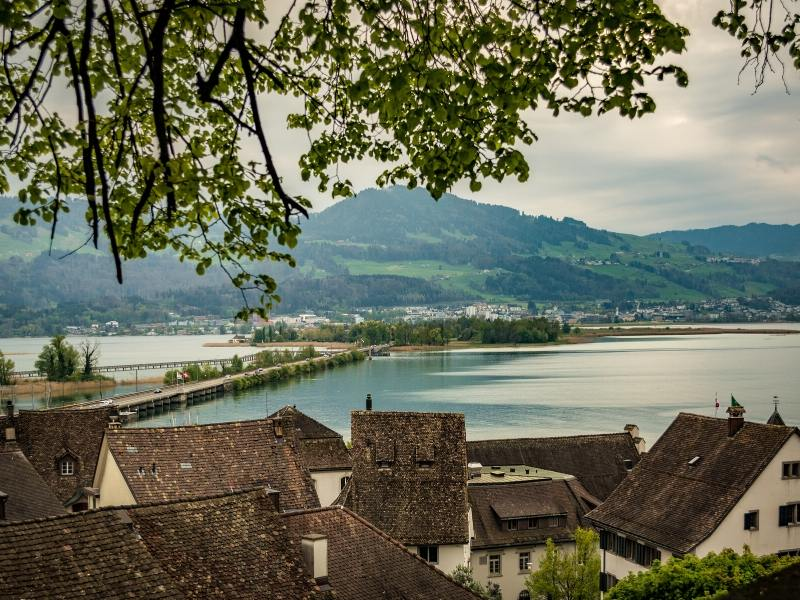 View of Lake Zurich from Rapperswil in Switzerland