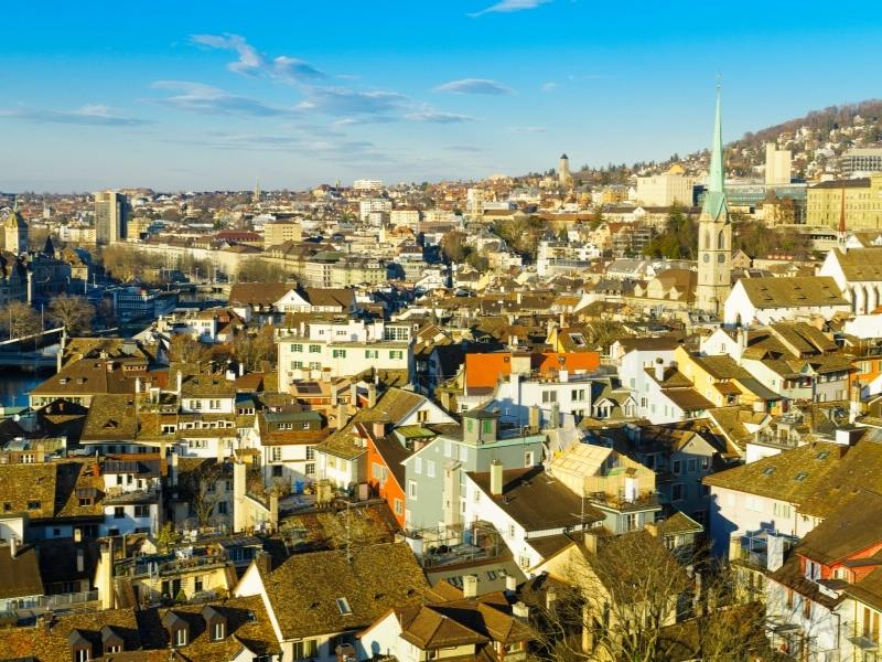 An aerial view of Zurich one of the  best cities to visit in Switzerland