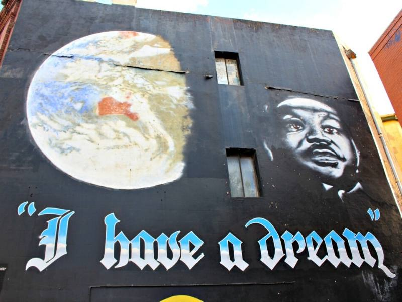 the words I had a dream with a picture of Martin Luther King painted on a wall in Sydney Australia