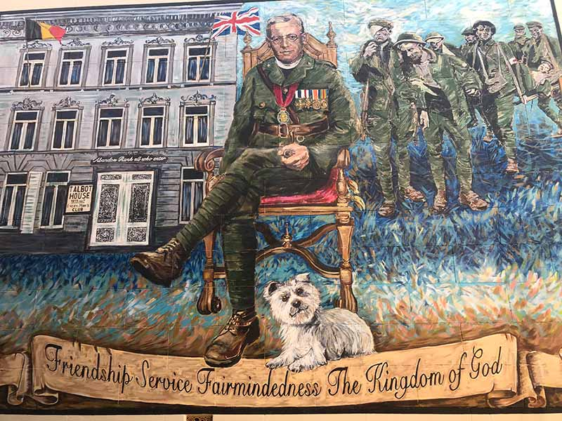 Mural of a soldier and his dog