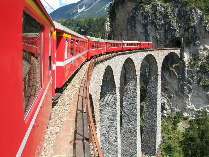 The Bernina Express train one of the most scenic train journeys in Europe