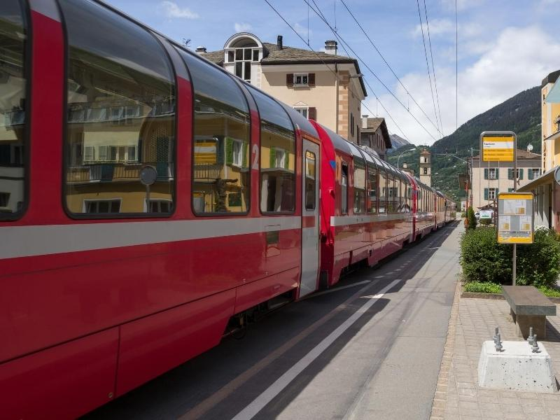 The Bernina Express at the station in Tirano