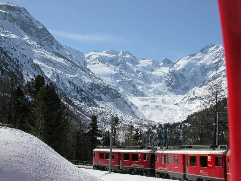 Bernina Express in the snow