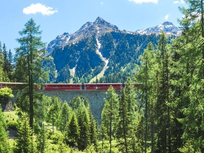 View of the Bernina Express crossing a bridge