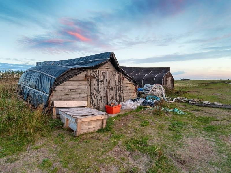 Boat huts on Holy Island