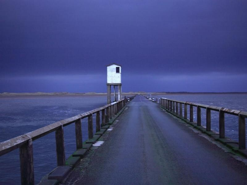 Causeway over the Holy Island at night