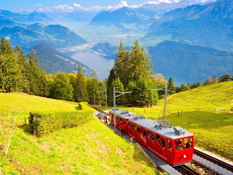 View of the cog railway on Mount Pilatus