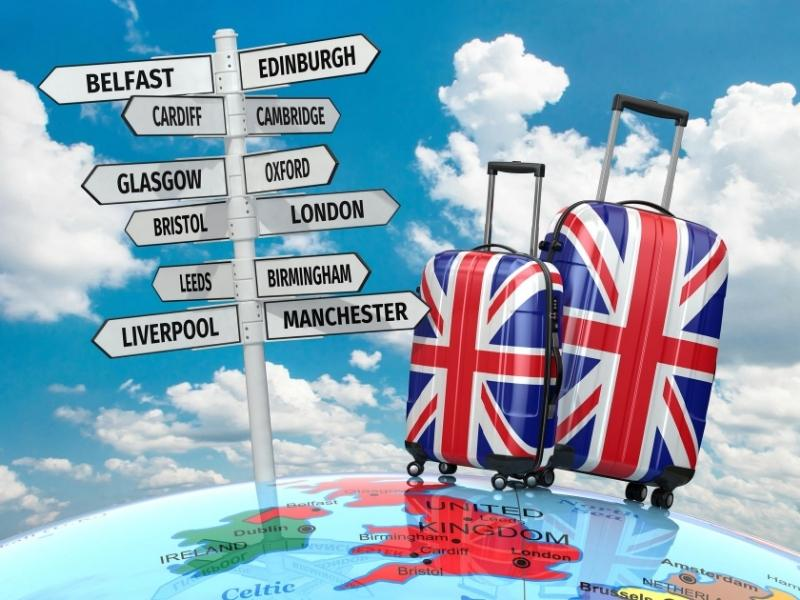 UK travel suitcases with signposts of UK places