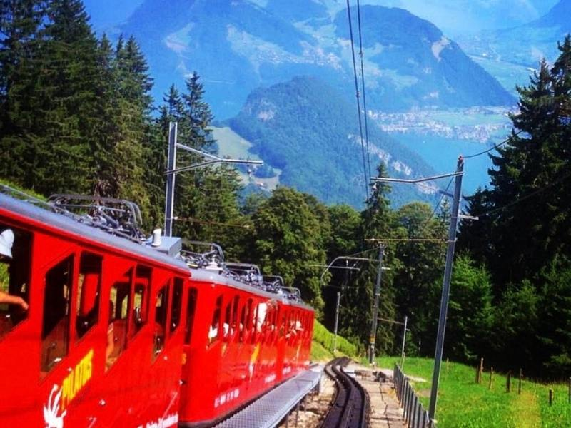 Cog railway on Pilatus in Switzerland