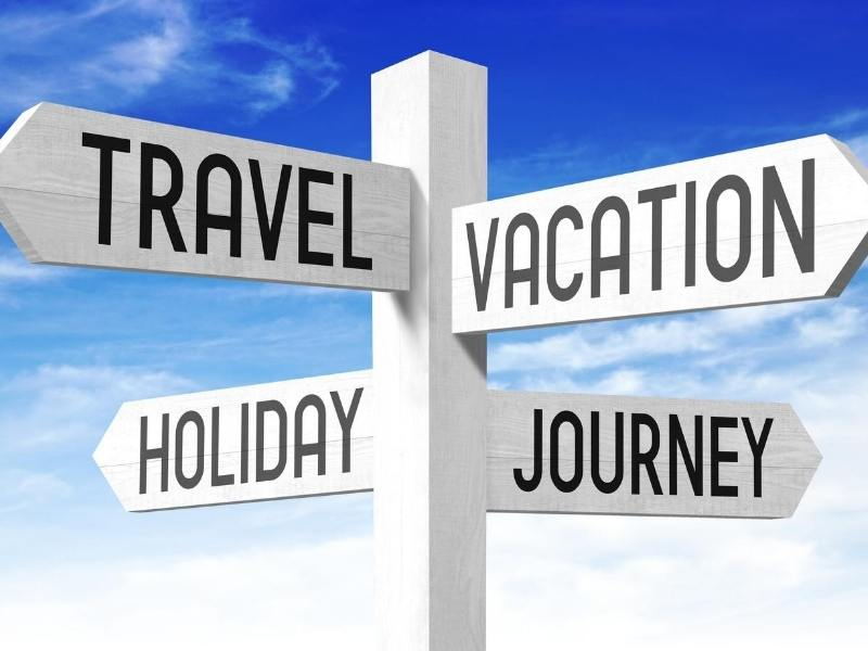 Signpost showing travel, vacation, trip, holiday options