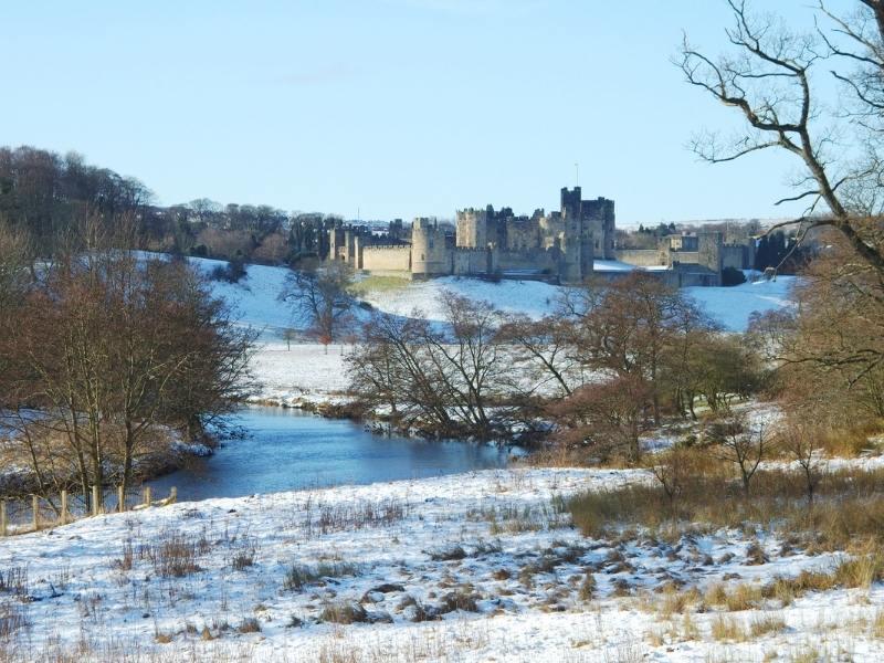 Beautiful Alnwick castle in winter
