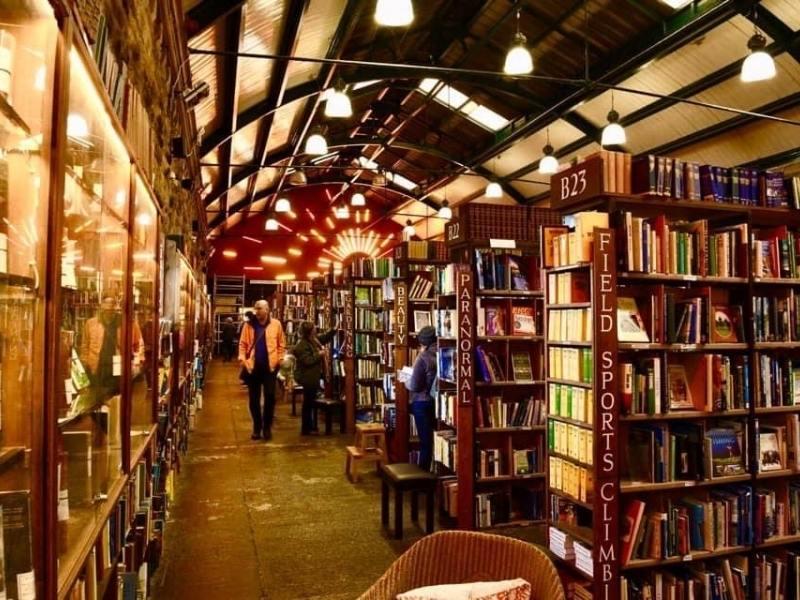 Inside Barter Books - lots of books on shelves