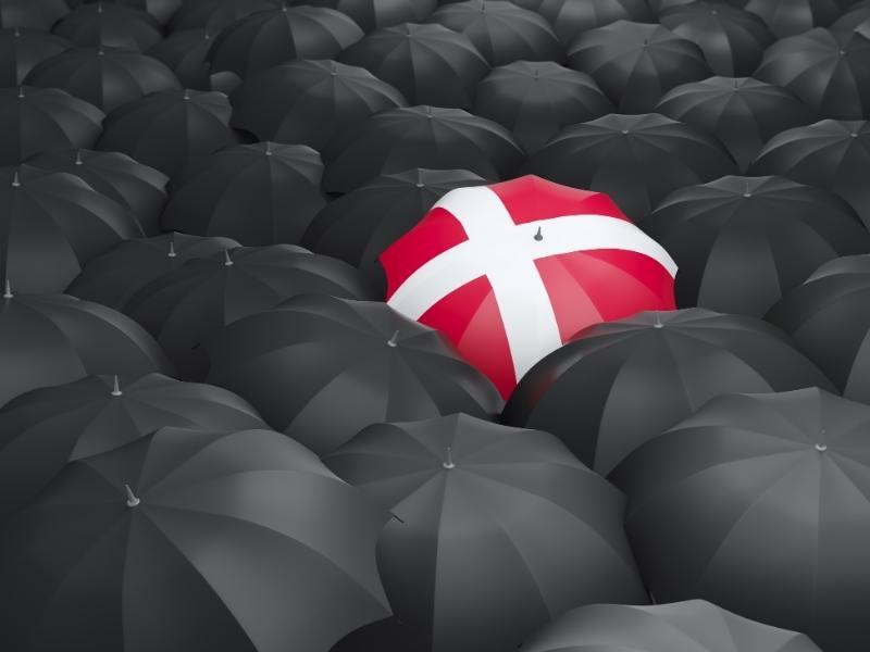 Danish flag on an umbrella
