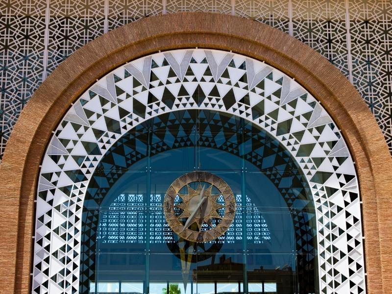 Detail from the front of Marrakech Train station if you travel Morocco by train you may use this station