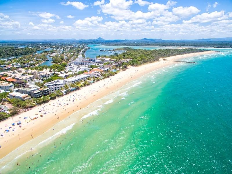 Noosa main beach and the town in the background