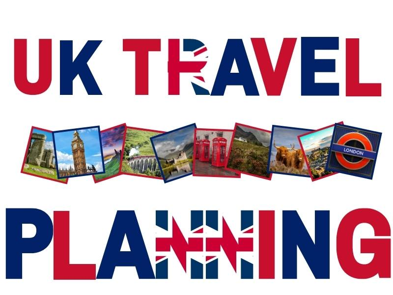UK Travel Guide image with photos of places in the UK.