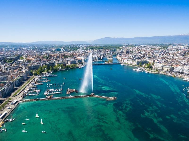Geneva in Switzerland aerial shot of one of the best places to visit in Switzerland