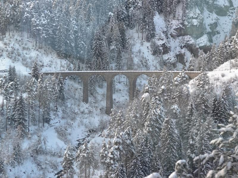 Landwasser Viaduct in the snow one of the best places to visit in Switzerland