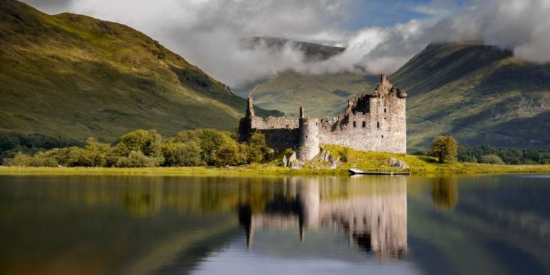 Scotland castle on a loch often seen in Scottish gift guide items such as calendars