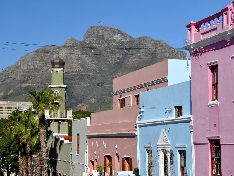 Bright coloured houses in Bo Kaap in Cape Town in South Africa