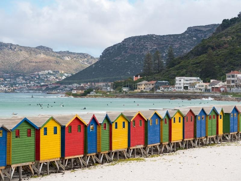 Muizenberg Beach in South Africa with beach huts