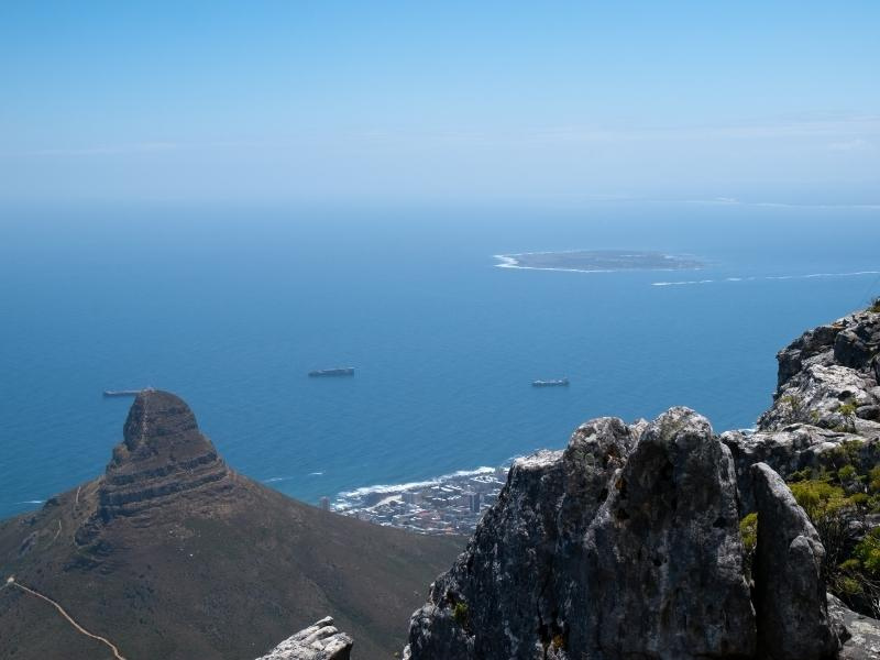 View of Robben Island from Table Mountain in Cape Town.