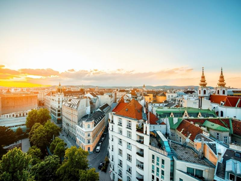 An aerial view of Vienna.